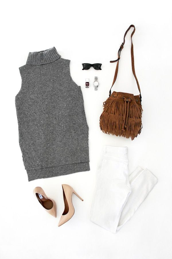 Le Fashion Blog Neutral Fall Style Grey Sleeveless Turtleneck Sweater Wayfarer Sunglasses Silver Watch Fringe Bucket Bag White Jeans Nude Pumps Casual Chic Outfit Flat Lay
