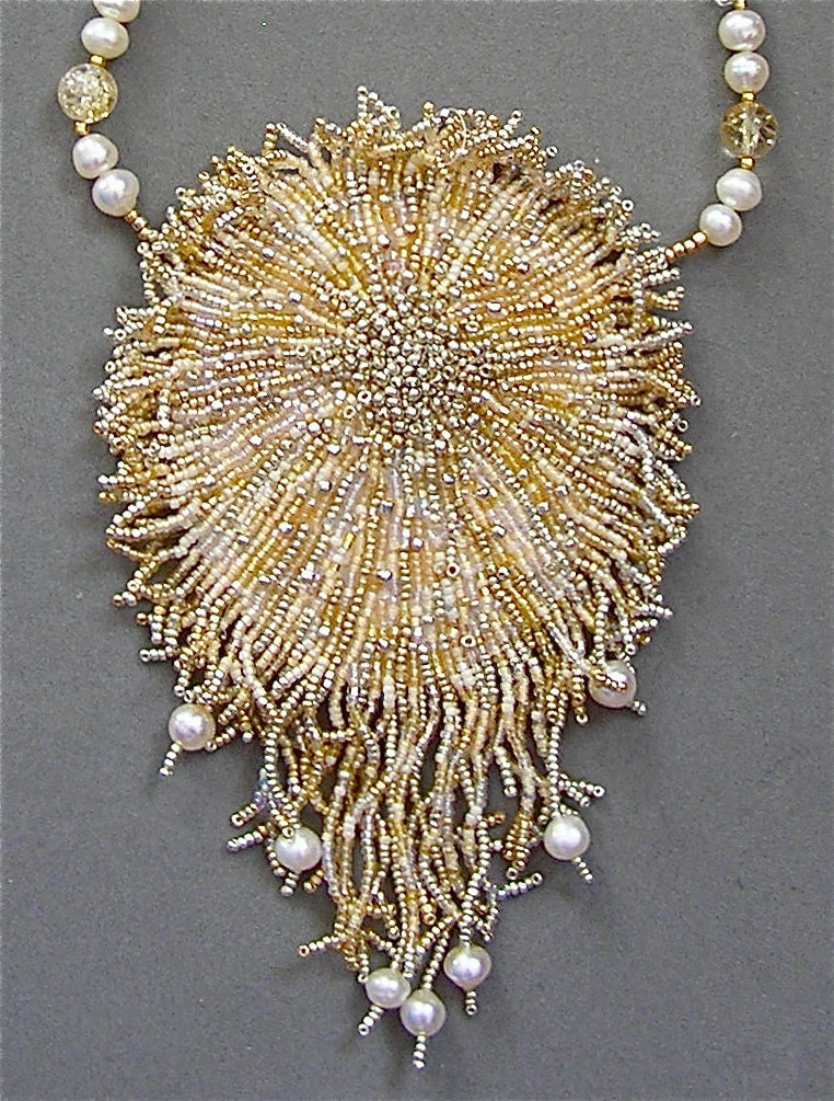 A beadwork necklace I call SHIMMERING  SOPHIA  - wearable art - SuzannaSolomon
