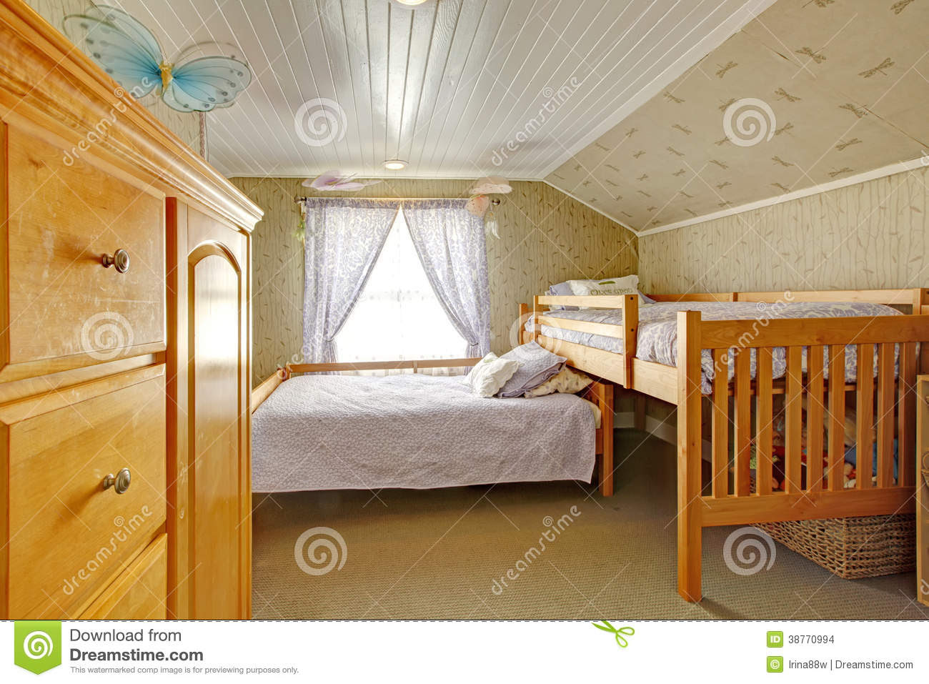 Vaulted Ceiling Bedroom With Low And High Beds Stock Images ...