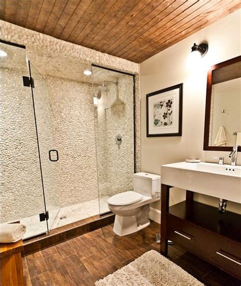 creative bathroom shower ideas  wood  stone
