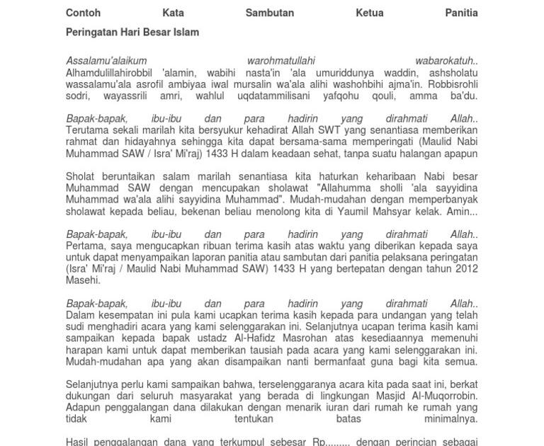 Contoh Teks Sambutan Ketua Panitia Maulid Nabi - Kumpulan ...