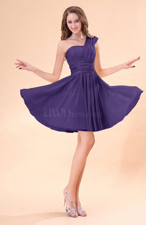 dark purple cute aline sleeveless mini ruching wedding