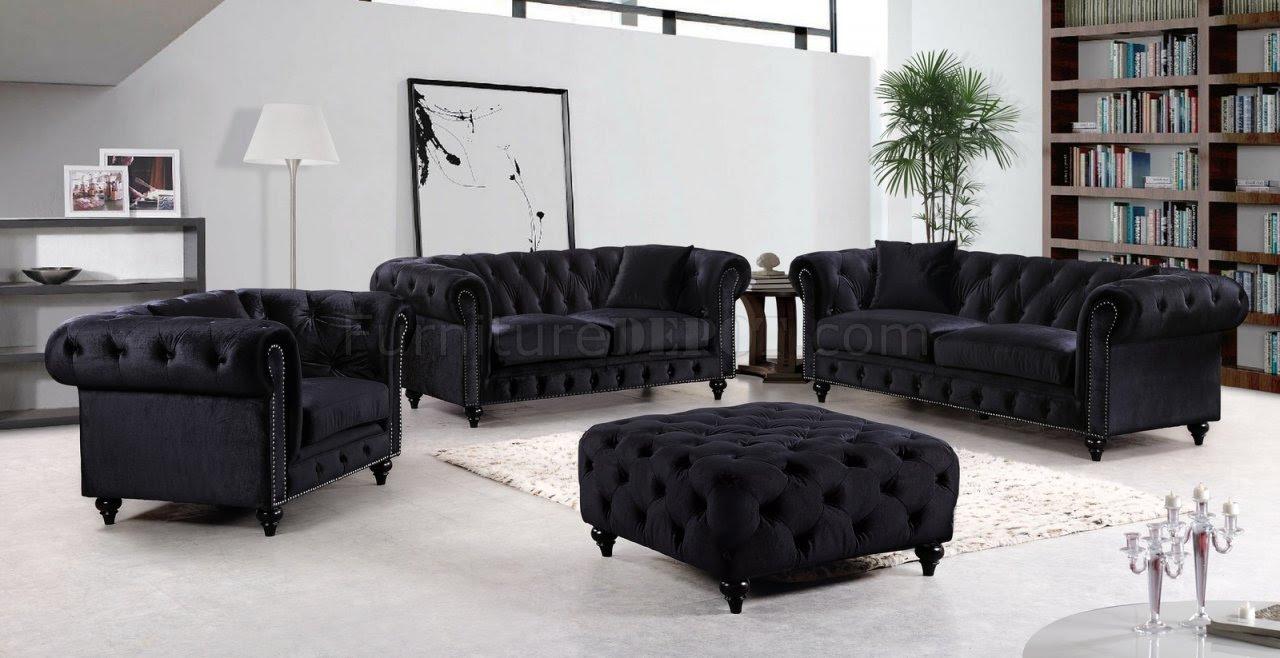 Chesterfield Sofa 662BL in Black Velvet Fabric w/Optional ...