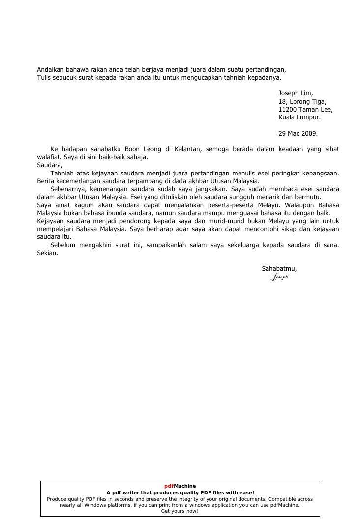 Contoh Karangan Surat Kiriman Tidak Rasmi - Downlllll