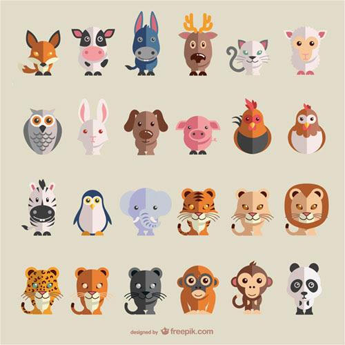 フリー素材 様々な動物達をフラットデザインにしたベクターイラスト