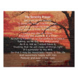 Serenity Prayer inspirational quote on nature art Poster
