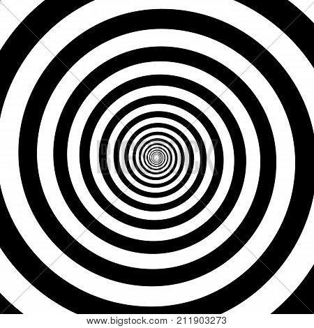 Hypnotic Circles Abstract White Black Optical Illusion Vector Spiral