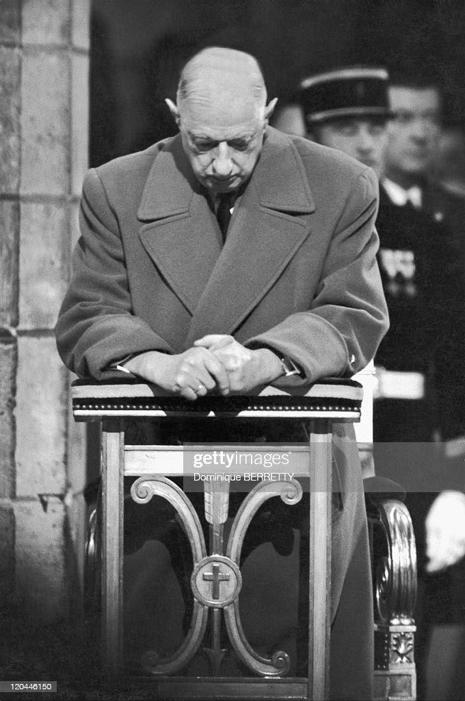 Charles De Gaulle In Paris, France On November 11, 1968 - Charles De Gaulle during a commemoration at Notre-Dame de Paris for the fiftieth anniversary of the armistice of World War I.