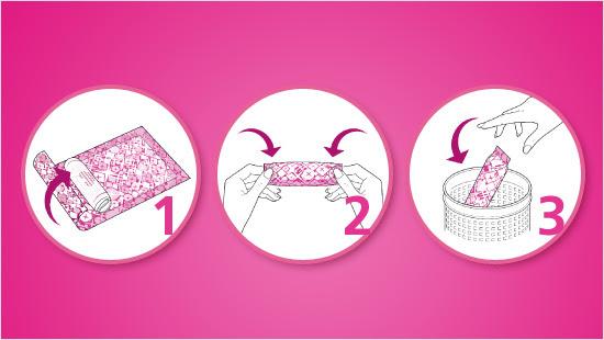 Grazie alla tecnologia Rolla, Pressa, Via™, Nuvenia ci libera dall'imbarazzo di gettare gli assorbenti usati. Come? Con tre semplici mosse: arrotolare l'assorbente usato, pressare e buttare via!