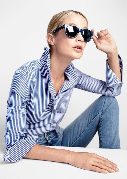 Le Fashion Blog JCrew Classic Round Navy Sunglasses Lookbook Carolyn Murphy Striped Button Down Shirt Light Wash Denim