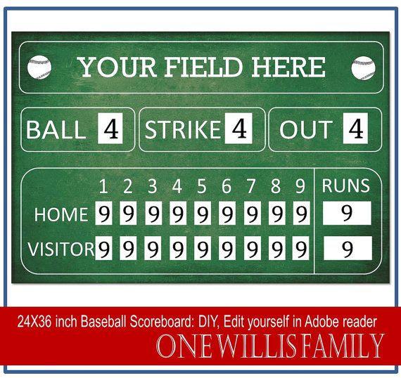 DIY Baseball Scoreboard: Baseball birthday party decoration ...