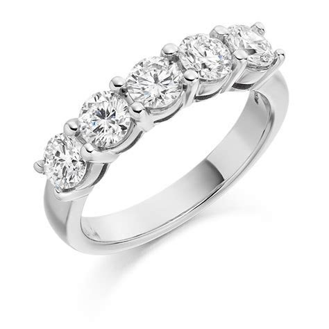 5 Round Brilliants Claw Set Eternity Ring