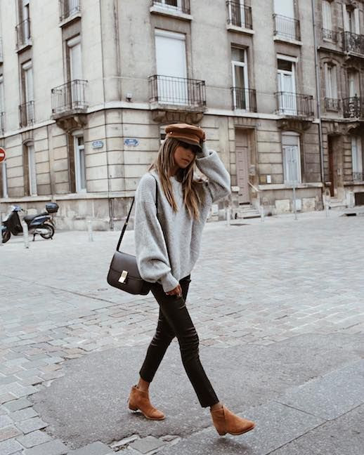 Le Fashion Blog Tan Hat Grey Oversized Sweater Leather Bag Leather Leggings Tan Suede Boots Via Sincerely Jules