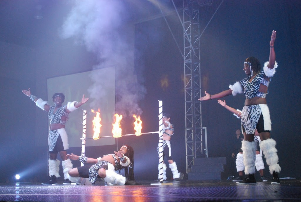 The Kenya Brothers doing a flaming limbo dance ......