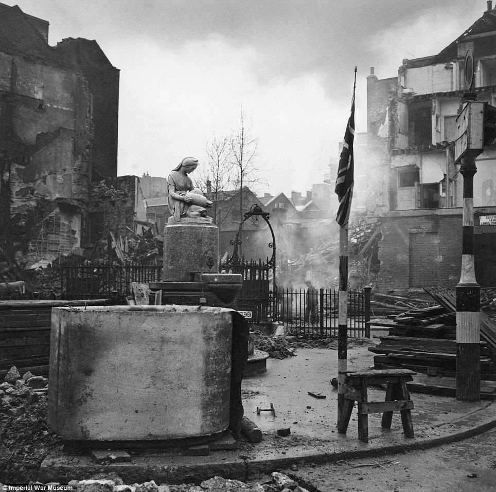 As well as glamorous portraits of British soldiers, Beaton's portfolio also catalogues famous landmarks, such as a war-ravaged Bloomsbury Square