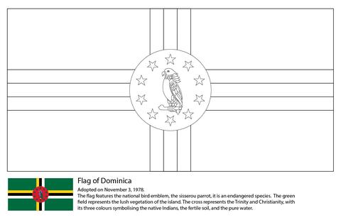 Dibujo De Bandera De Dominica Para Colorear Dibujos Para Colorear