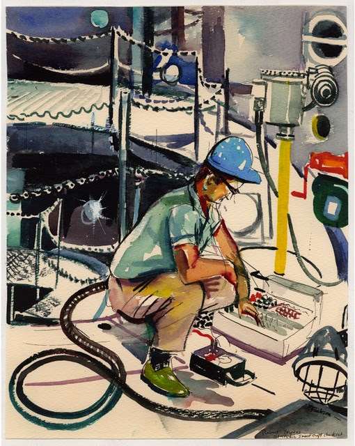 watercolour drawing of aerospace technician checking equipment