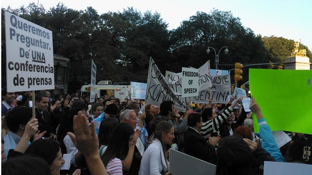 PHOTO: Signs at the protest against Cristina Fernandez de Kirchner.