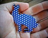 "Wooden Rabbit Brooch ""Dotty Bunny"" - Polka Dot Bunny Design Navy"