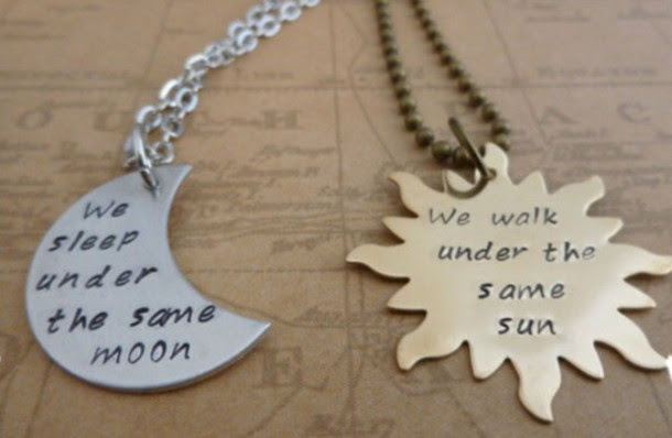 Jewels Necklace Sun Moon Love Quotes Wheretoget