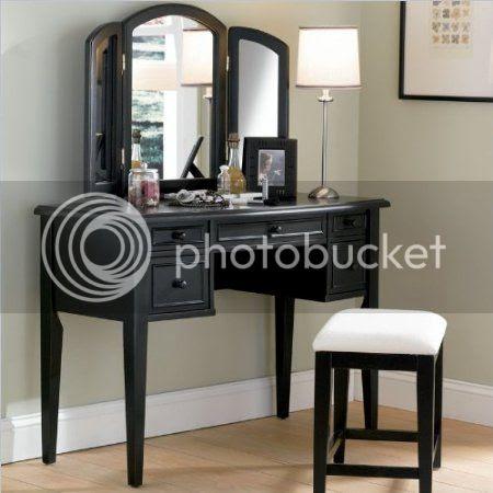 Powell Furniture Black Antique Wood Makeup Vanity Table