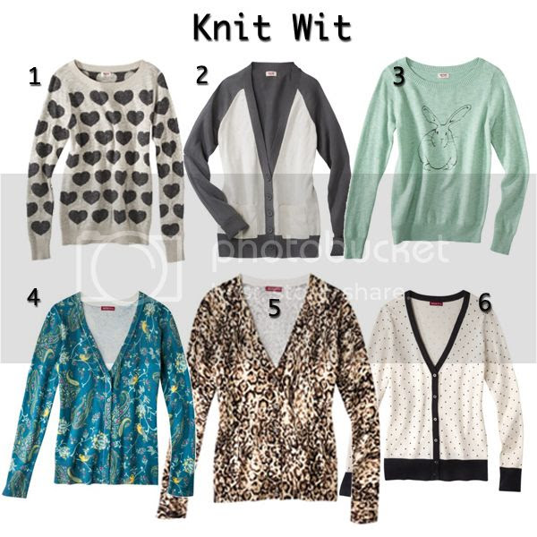 Mossimo heart print sweater, Mossimo bunny print sweater, Merona printed cardigans, Target knits fall 2013