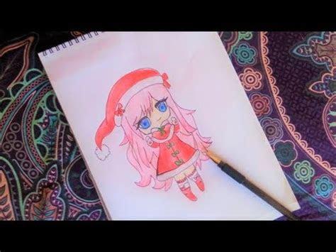 draw  cute anime girl   santa costumechristmas