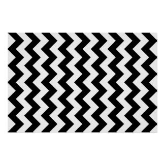 Black and White Zigzag Poster