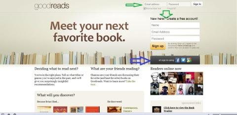 Halaman awal masuk goodreads