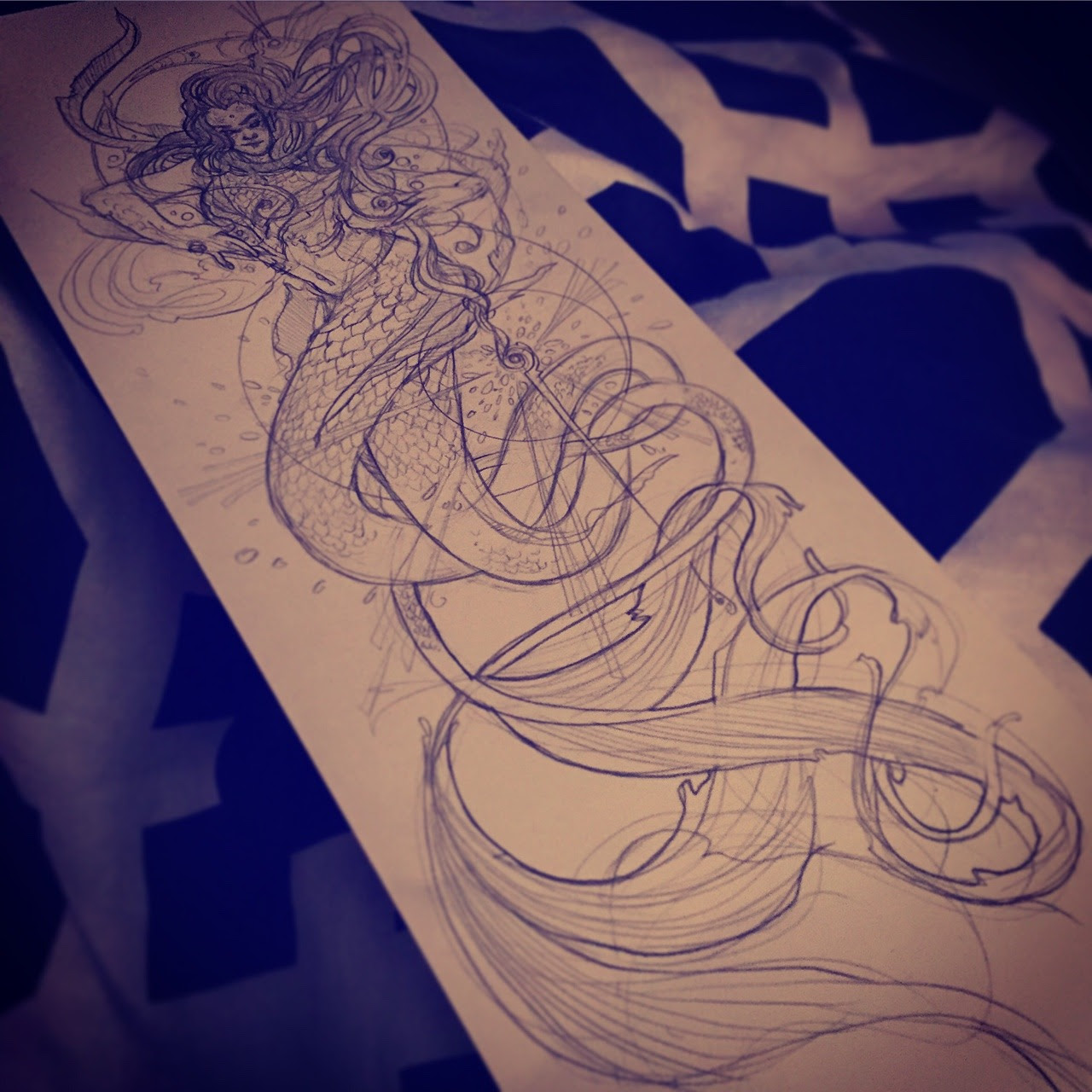 Inktober and drawlloween day 21 twin tailed mermaid