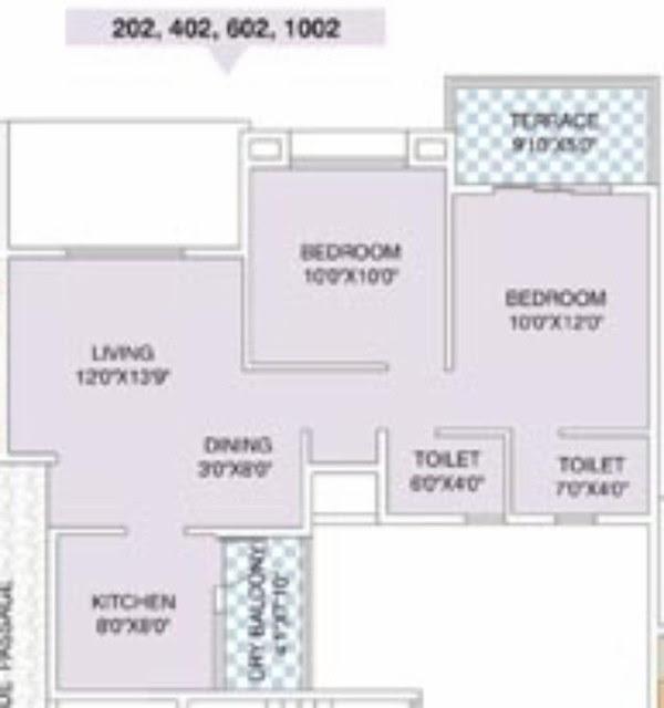 Nirman Viva E 1001/ 1002 2 BHK Flat Back 586 Carpet + 49 Terrace for Rs. 37,07,400 + 5,000 Misc + ST + VAT