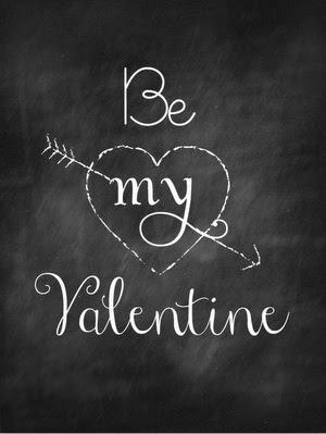 Be My Valentine free printable chalkboard