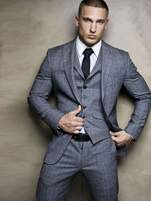 Grey 3 piece window pane suit , I whish more Young men would wear clothes this way , the world would be much better