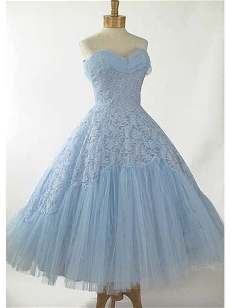 1950's Informal Wedding Dresses 50s Strapless Baby Blue
