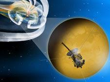 Artist concept of Cassini's flyby of Titan