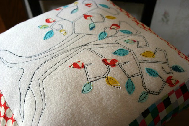 sketch stitch tree pillow #2