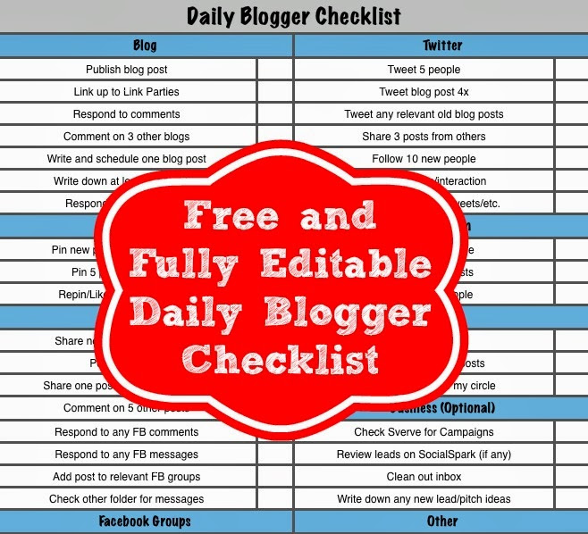 Free Daily Blogger Checklist - Play.Party.Plan