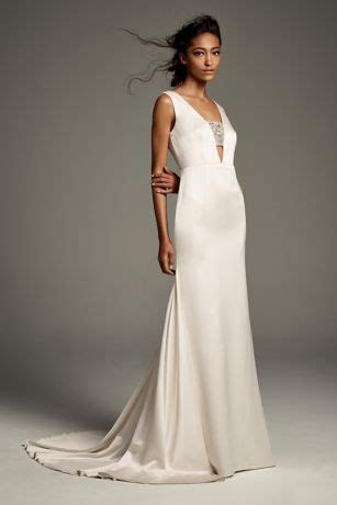 Crepe Back Satin Gown with Encrusted Bandeau   David's Bridal