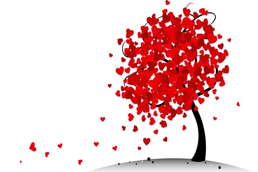 árbol Con Hojas Rojas En Forma De Corazón 74747