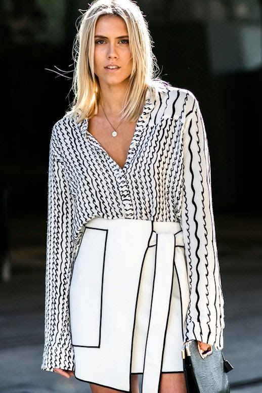 Le Fashion Blog Street Style Australian Fashion Week Abstract Print Black And White Blouse Contrasted Piping Skirt Via Vogue Paris