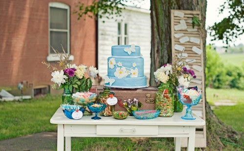 Blue and Green Wedding Dessert Display