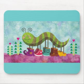 whimsy caterpillar mousepad