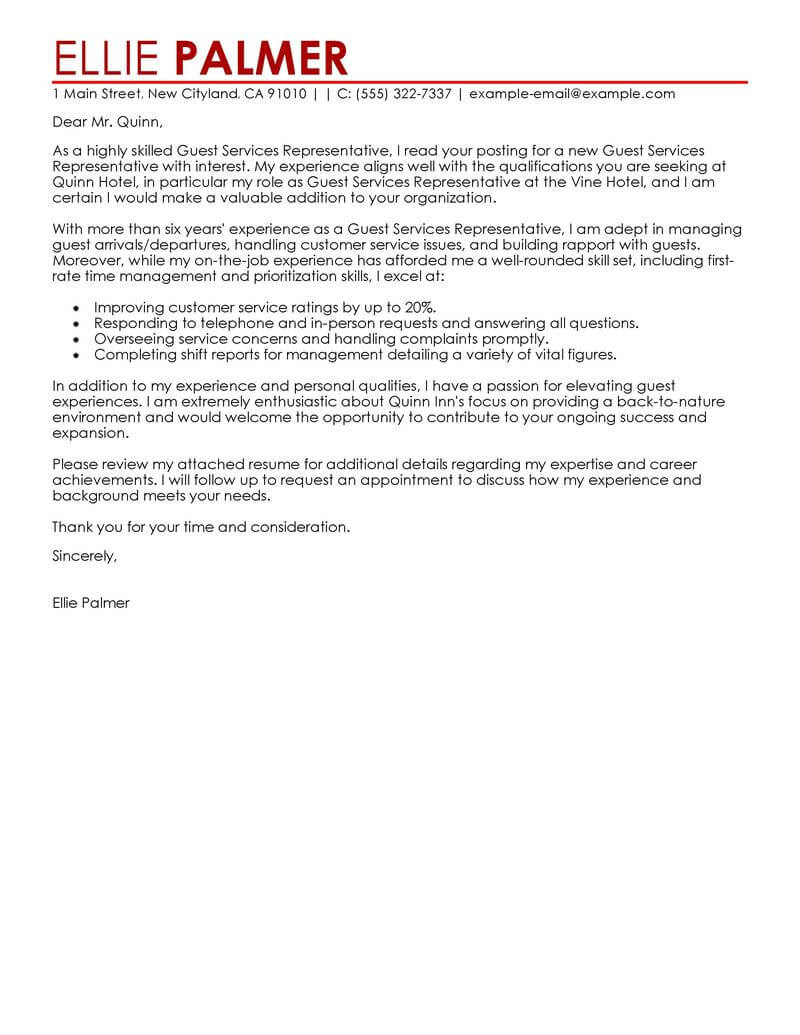 Best Guest Service Representative Cover Letter Examples