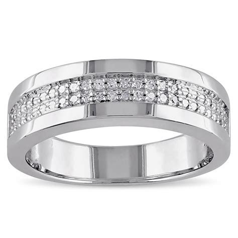 Miadora Sterling Silver Men's 1/10ct TDW Diamond Wedding