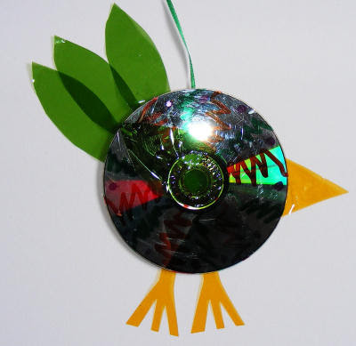 Recycled CD bird craft