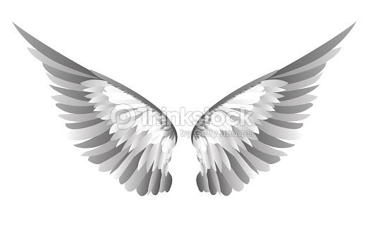 翼白の背景にベクトル イラスト黒と白のスタイル ベクトルアート