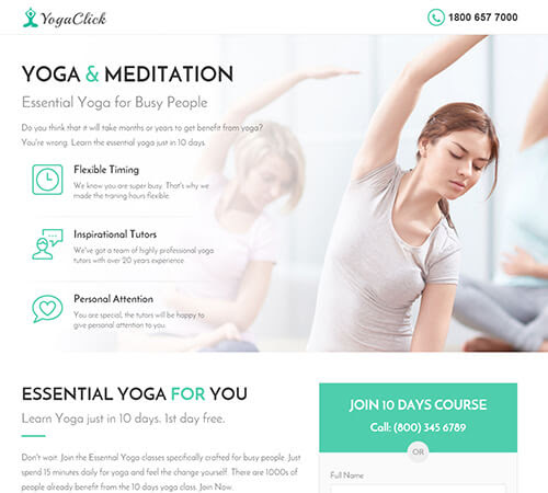 Medical Spa Yoga Fitness Landing Page Template Market Themes - Medical landing page template