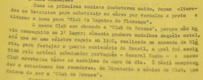 Trecho da ata de reunião do Flamengo explicando a troca das cores do uniforme (Foto: Reprodução / Patrimônio Histórico do Flamengo)