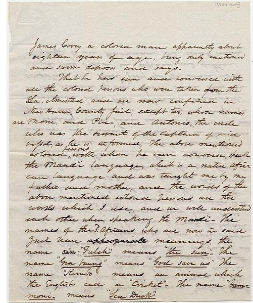 File:James Covey deposition on Amistad captives held in New Haven jail page 1.jpg