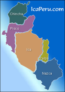 Mapa del  departamento de Ica Perú